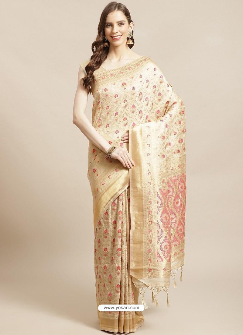 Cream Designer Weaving Viscose Silk Classic Wear Sari