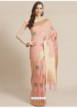 Baby Pink Designer Weaving Viscose Silk Classic Wear Sari