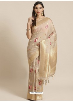 Light Beige Designer Weaving Viscose Silk Classic Wear Sari