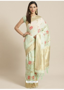 Sea Green Designer Weaving Viscose Silk Classic Wear Sari