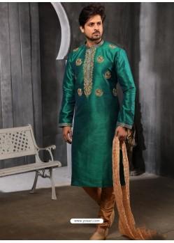 Dark Green Readymade Designer Party Wear Kurta Pajama For Men