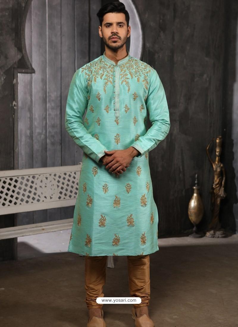 Sky Blue Readymade Designer Party Wear Kurta Pajama For Men