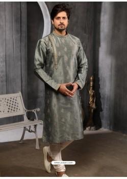 Dull Grey Readymade Designer Party Wear Kurta Pajama For Men