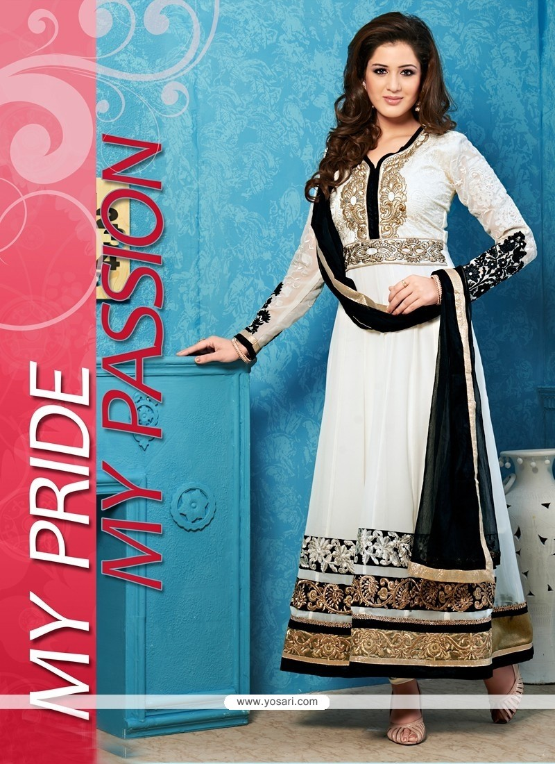 Dignified Black And White Georgette Anarkali Salwar Suit