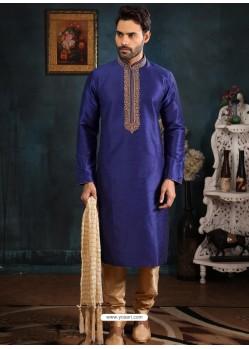 Royal Blue Readymade Designer Party Wear Kurta Pajama For Men