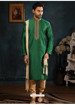 Forest Green Readymade Designer Party Wear Kurta Pajama For Men