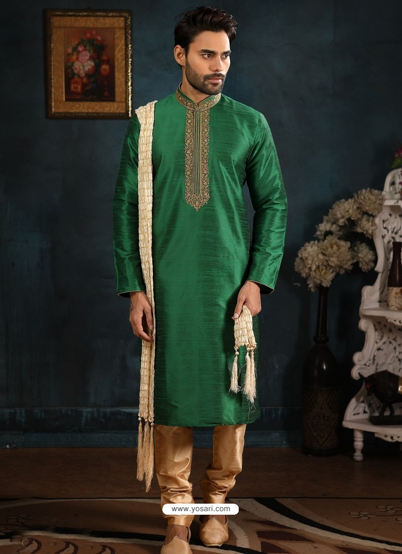 Forest Green Readymade Designer Party Wear Kurta Pajama For Men