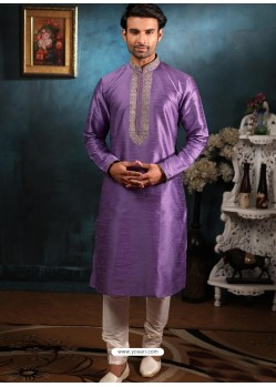 Lavender Readymade Designer Party Wear Kurta Pajama For Men
