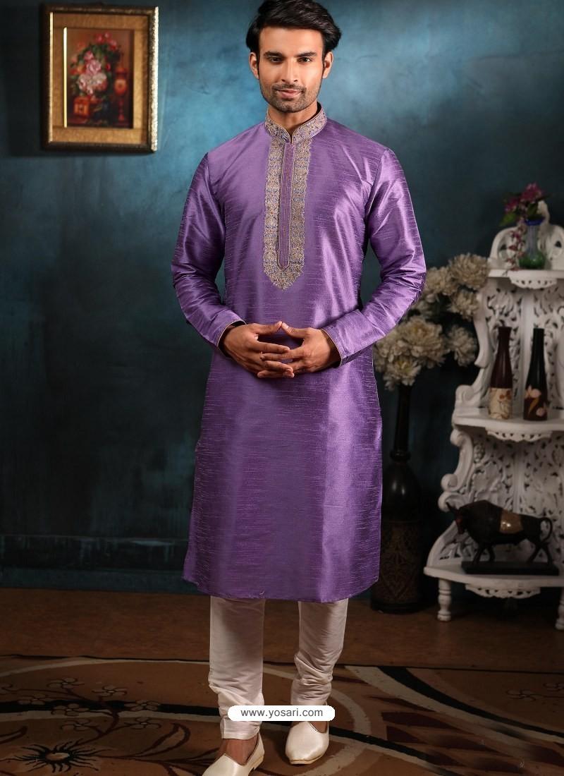 Lavender Readymade Designer Party Wear Kurta Pajama For Men