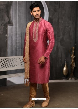 Hot Pink Readymade Designer Party Wear Kurta Pajama For Men