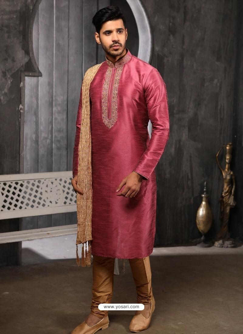 Hot Pink Readymade Designer Party Wear Kurta Pajama For Men