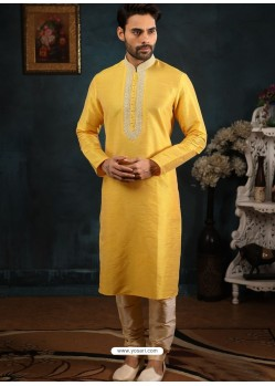Yellow Readymade Designer Party Wear Kurta Pajama For Men