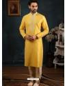 Yellow Readymade Designer Party Wear Kurta Pajama For Men