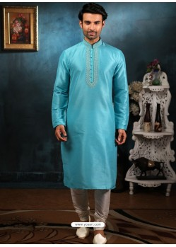 Sky Blue Readymade Designer Party Wear Kurta Pajama For Men