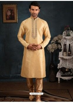 Cream Readymade Designer Party Wear Kurta Pajama For Men