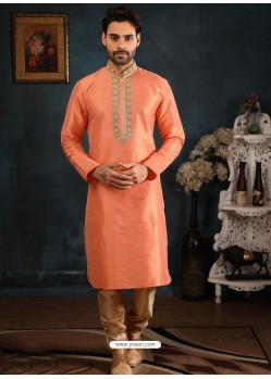 Light Orange Readymade Designer Party Wear Kurta Pajama For Men