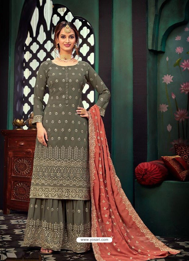 Taupe Heavy Designer Party Wear Georgette Palazzo Suit