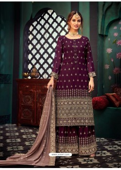 Deep Wine Heavy Designer Party Wear Georgette Palazzo Suit
