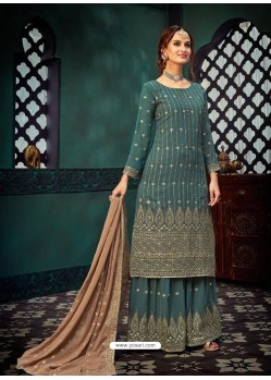 Aqua Grey Heavy Designer Party Wear Georgette Palazzo Suit
