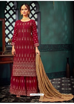 Crimson Heavy Designer Party Wear Georgette Palazzo Suit
