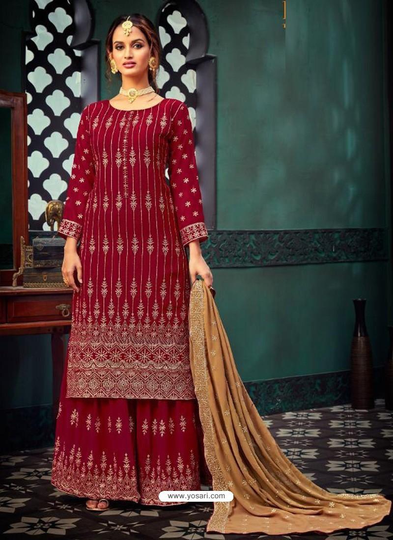 Crimson Heavy Designer Party Wear Georgette Palazzo Suit