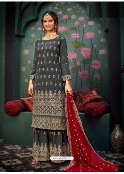 Dark Grey Heavy Designer Party Wear Georgette Palazzo Suit