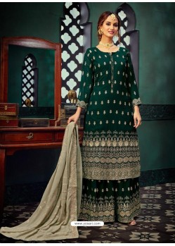 Dark Green Heavy Designer Party Wear Georgette Palazzo Suit