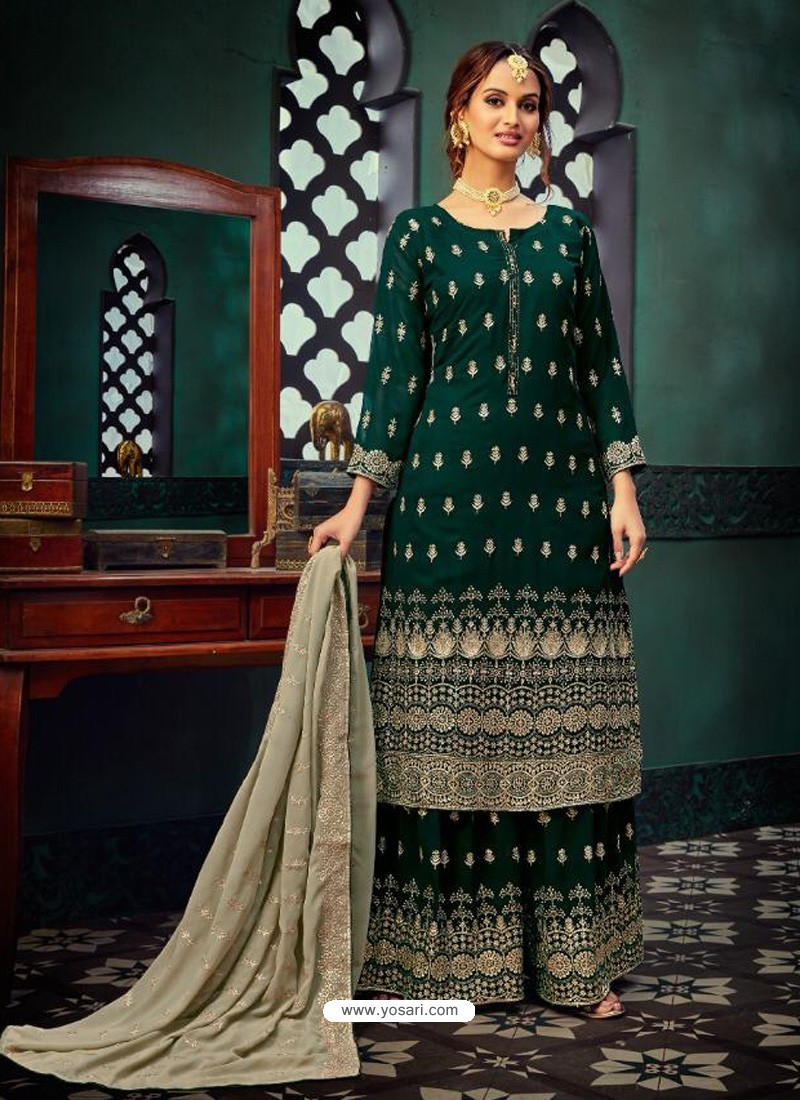 Dark Green Heavy Designer Party Wear Georgette Palazzo Suit