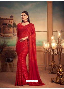 Red Mesmeric Designer Party Wear Wear Sari