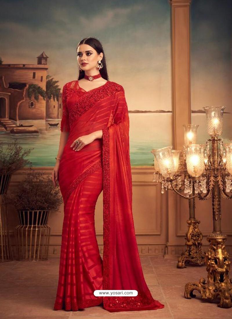Red Mesmeric Designer Party Wear Wear Sari
