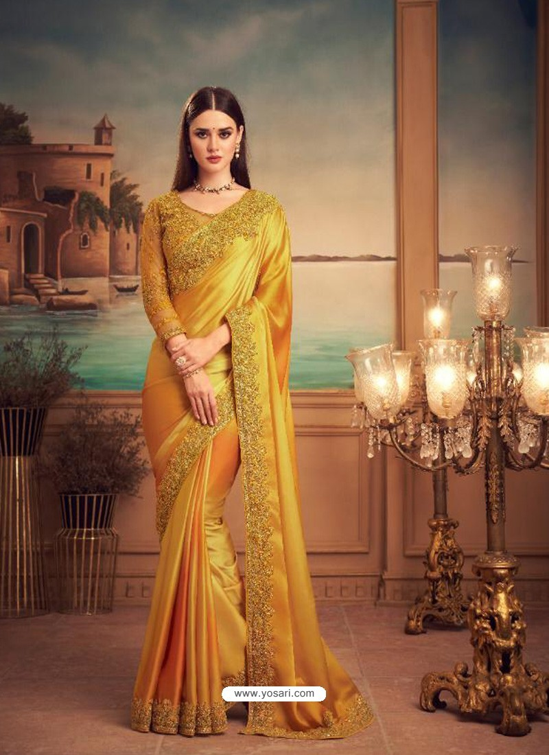 Yellow Mesmeric Designer Party Wear Wear Sari