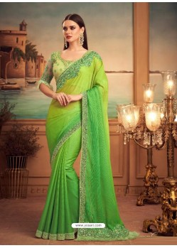 Green Mesmeric Designer Party Wear Wear Sari