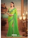 Green Mesmeric Designer Party Wear Wear Sari