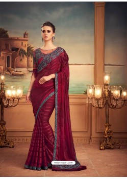 Maroon Mesmeric Designer Party Wear Wear Sari