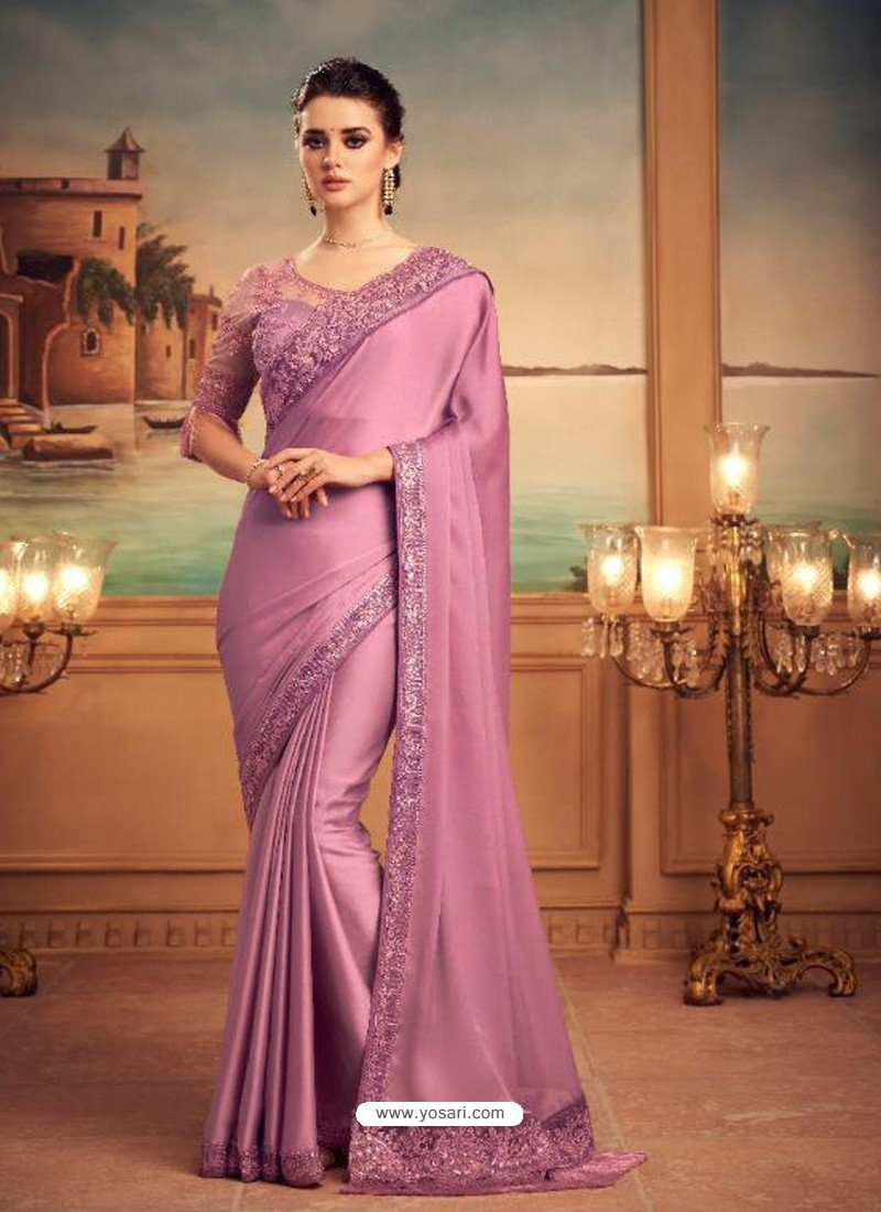 Mauve Mesmeric Designer Party Wear Wear Sari