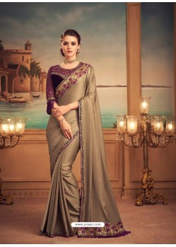 Gold Mesmeric Designer Party Wear Wear Sari