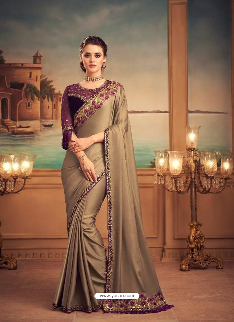Gold Mesmeric Designer Party Wear Wear Sari