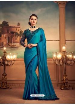 Blue Mesmeric Designer Party Wear Wear Sari