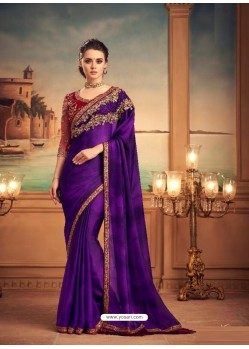 Violet Mesmeric Designer Party Wear Wear Sari