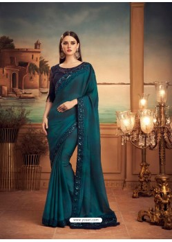 Teal Blue Mesmeric Designer Party Wear Wear Sari