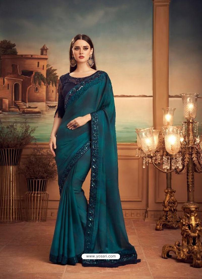 Teal Blue Mesmeric Designer Party Wear Wear Sari