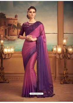 Hot Pink Mesmeric Designer Party Wear Wear Sari