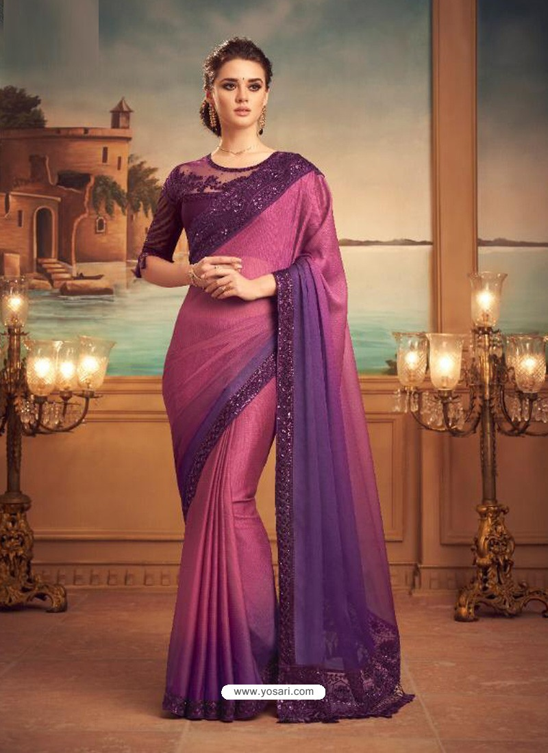 Hot Pink Mesmeric Designer Party Wear Wear Sari