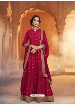 Crimson Heavy Embroidered Designer Pure Rashian Silk Anarkali Suit