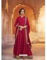 Crimson Heavy Embroidered Designer Pure Rashian Silk Anarkali Suit