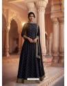 Navy Blue Heavy Embroidered Designer Pure Rashian Silk Anarkali Suit