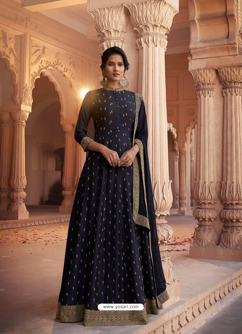 Navy Blue Heavy Embroidered Designer Pure Rashian Silk Anarkali Suit