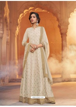 Off White Heavy Embroidered Designer Pure Rashian Silk Anarkali Suit