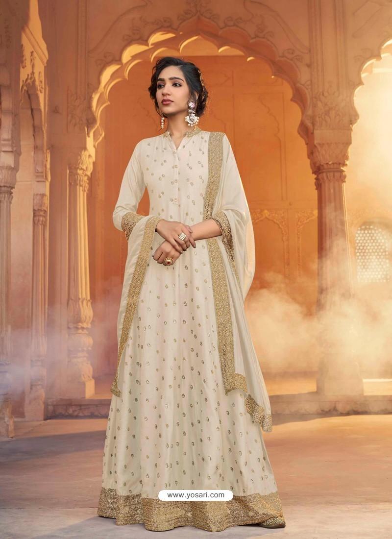 Off White Heavy Embroidered Designer Pure Rashian Silk Anarkali Suit