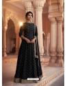Black Heavy Embroidered Designer Pure Rashian Silk Anarkali Suit